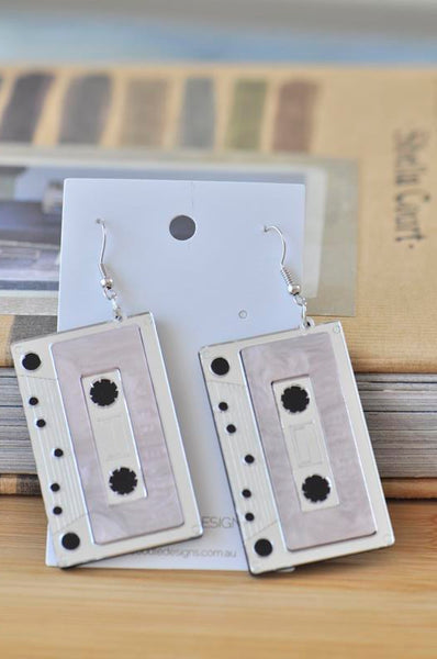 Acrylic Perspex Laser Cut Retro Cassette Tape Drop Earrings - Pink