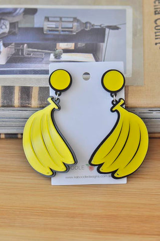 Acrylic Banana Fruit Dangle Drop Earrings