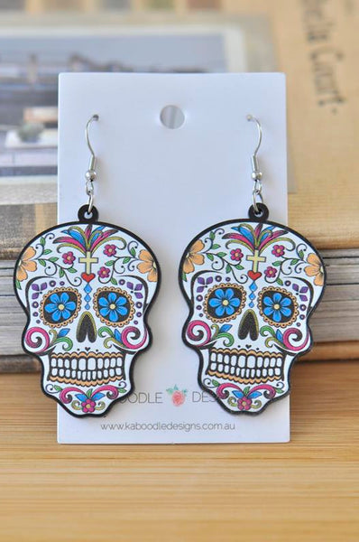 Acrylic Colourful Mexican Skull Dangle Drop Earrings