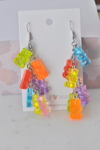 A Miniature 3D Candy Gummy Bear Cluster Dangle Drop Earrings