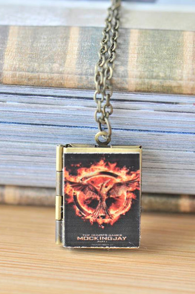 The Hunger Games Mockingjay inspired Photo Book Locket Necklace