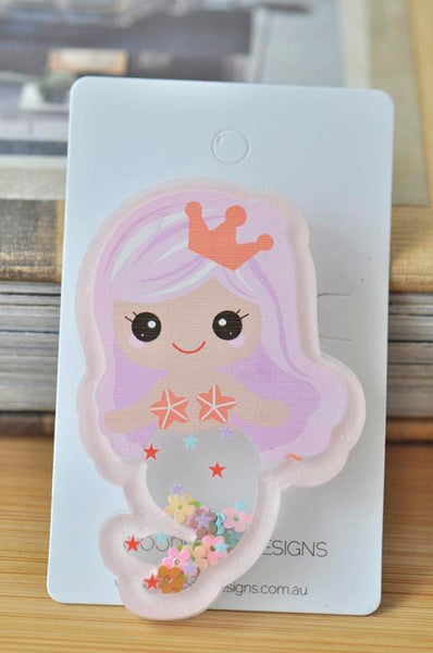 Acrylic Magical Mermaid Princess Glitter Stars Sparkles Large Pin Brooch