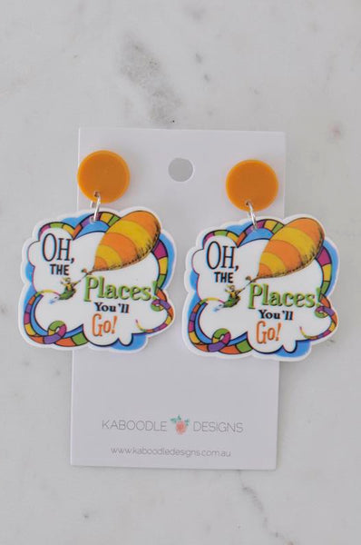 Acrylic Dr Seuss Oh The Places You'll Go Dangle Earrings