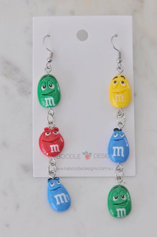 A Miniature M and M Candy Chocolate M&M Dangle Drop Earrings