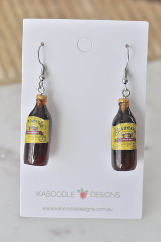 A Bundaberg Ginger Beer Bottle Novelty Fun Drop Dangle Earrings
