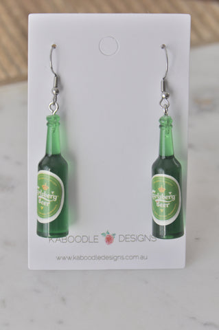 A Carlsberg Beer Bottle Alcohol Novelty Fun Drop Dangle Earrings
