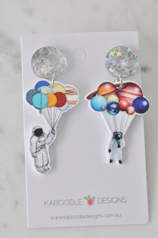 Acrylic Astronaut Galaxy Universe Planets Solar System Novelty Dangle Drop Earrings