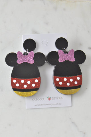 A Acrylic Chocolate Easter Egg Minnie Drop Dangle Earrings