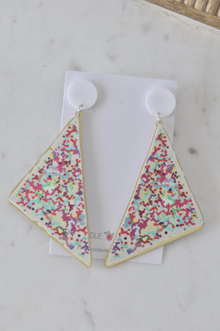 A Acrylic Fairy Bread Sprinkles 100s and 1000s Drop Dangle Earrings