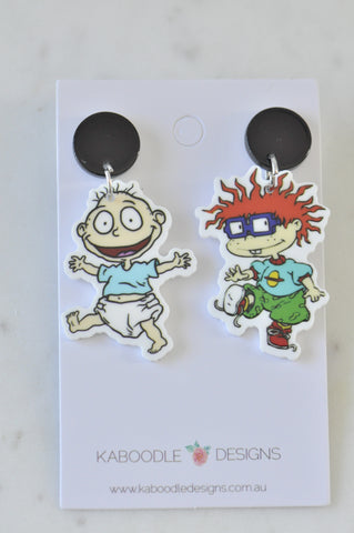 A Acrylic 90s Cartoon Rugrats Tommy and Chuckie Dangle Earrings