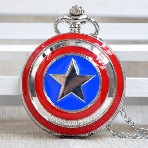 Captain America Inspired Shield Large Pocket Watch Necklace