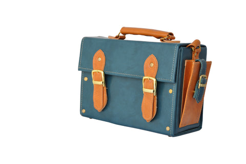 Double Strap Medicine Bag in Opal Green