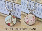 Handmade 20mm DOUBLE-SIDED Resin Pendant Necklace - Paris Eiffel Tower and Love