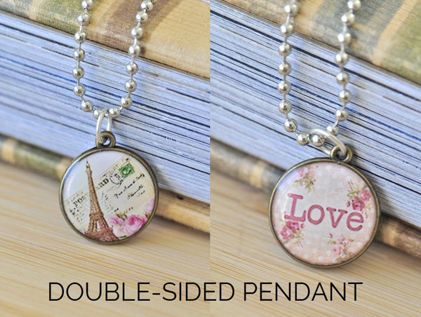 Handmade 20mm DOUBLE-SIDED Resin Pendant Necklace - Pink Paris Eiffel Tower and Love