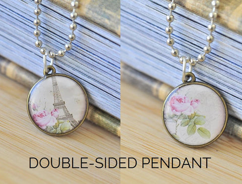 Handmade 20mm DOUBLE-SIDED Resin Pendant Necklace - Paris Eiffel Tower and Rose