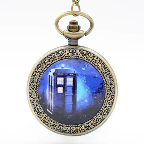 Doctor Who Inspired Tardis Large Pocket Watch Necklace - Antique Gold