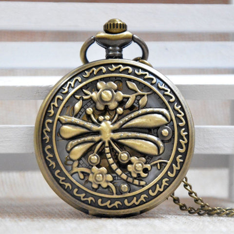 Dragonfly Cut Out Large Pocket Watch Necklace - Antique Gold