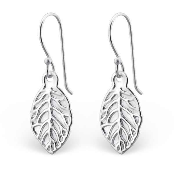 Leaf Cutout 925 Sterling Silver Dangle Earrings