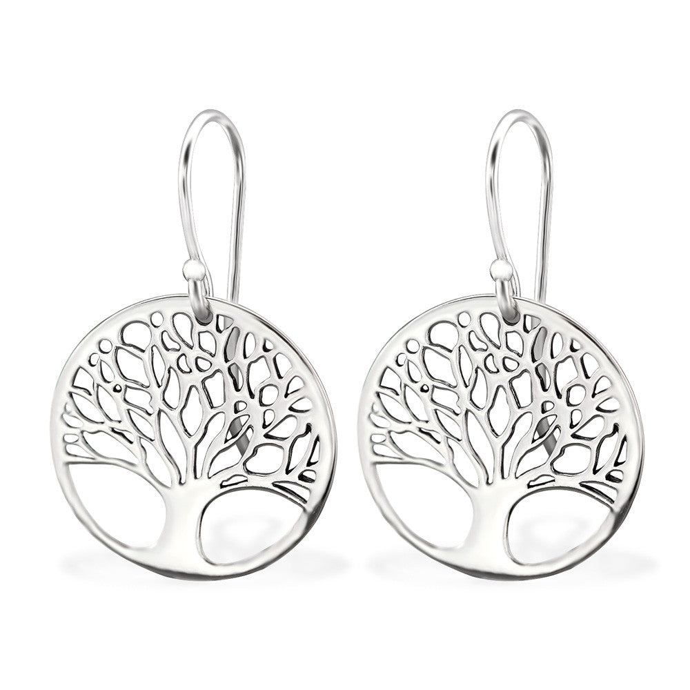 Tree of Life 925 Sterling Silver Dangle Earrings