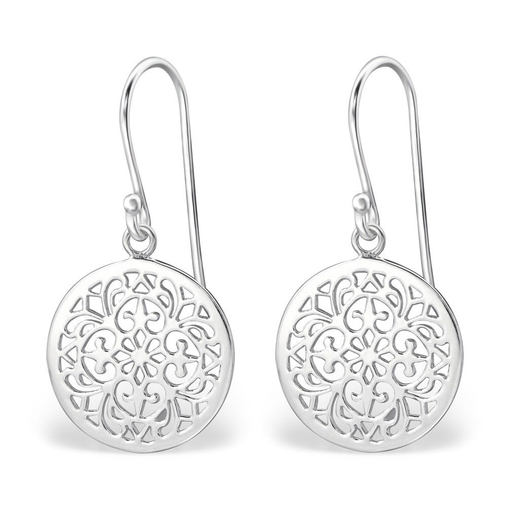 Symmetrical Filigree 925 Sterling Silver Dangle Earrings