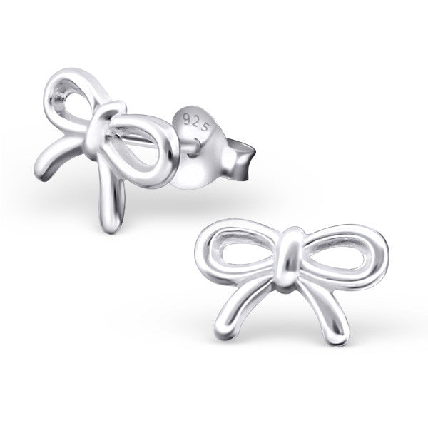 Bow Ribbon 925 Sterling Silver Stud Earrings