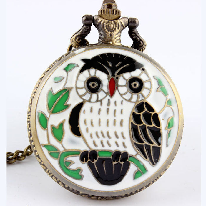 Enamel White Owl Pocket Watch Necklace - Antique Gold