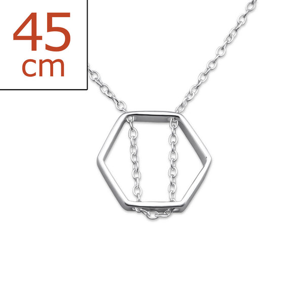 Hexagon 925 Sterling Silver Necklace