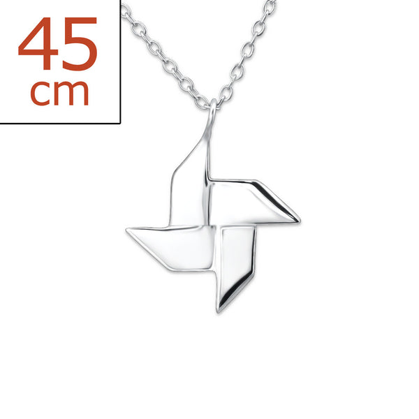 Origami Windmill 925 Sterling Silver Necklace