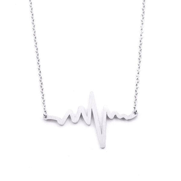 Silver - Stainless Steel Heart Beat Cutout Mini Dainty Minimalist Necklace