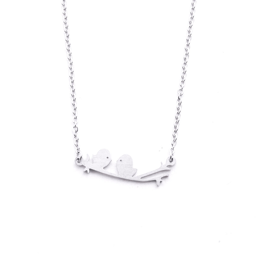 Silver - Stainless Steel Bird on A Branch Cutout Mini Dainty Minimalist Necklace