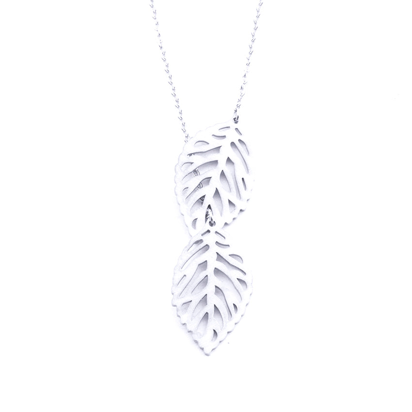 Silver - Stainless Steel Double Leaf Cutout Mini Dainty Minimalist Necklace
