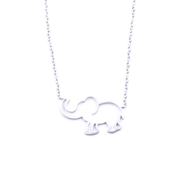 Silver - Stainless Steel Elephant Cutout Mini Dainty Minimalist Necklace