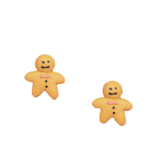 Miniature Food Gingerbread Man Stud Earrings