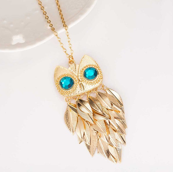 Quirky Gold Plated Large Owl Leaves Necklace