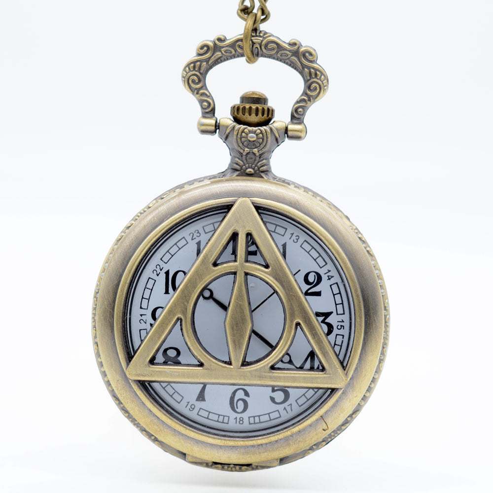 Harry Potter Inspired Deathly Hallows Medium Pocket Watch Necklace - Antique Gold