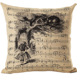 Alice In Wonderland Vintage Style Printed Linen Pillow Cushion - Alice and Cheshire Cat