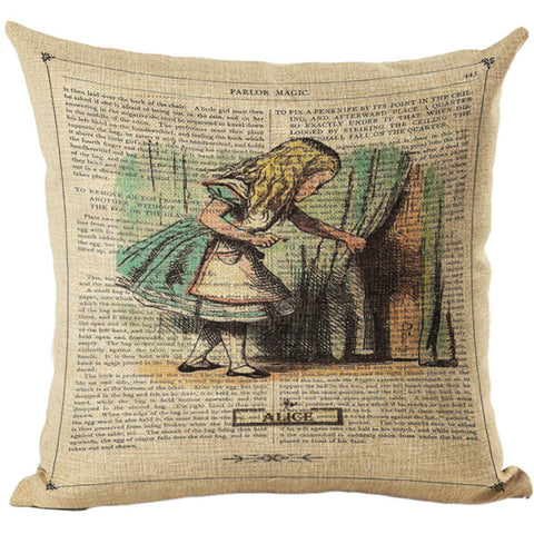 Alice In Wonderland Vintage Style Printed Linen Pillow Cushion - Alice Key To The Door