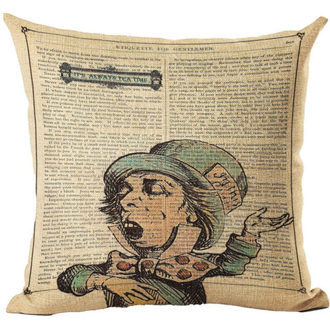 Alice In Wonderland Vintage Style Printed Linen Pillow Cushion - Mad Hatter