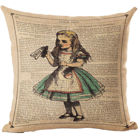 Alice In Wonderland Vintage Style Printed Linen Pillow Cushion - Drink Me