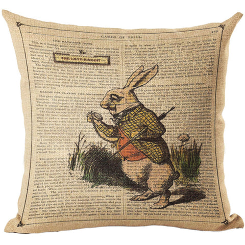 Alice In Wonderland Vintage Style Printed Linen Pillow Cushion - White Rabbit
