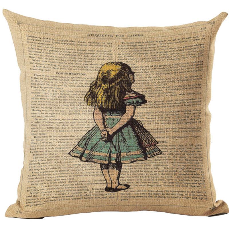Alice In Wonderland Vintage Style Printed Linen Pillow Cushion - Alice