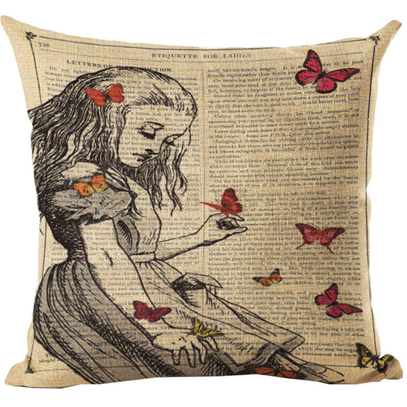 Alice In Wonderland Vintage Style Printed Linen Pillow Cushion - Alice and Butterflies
