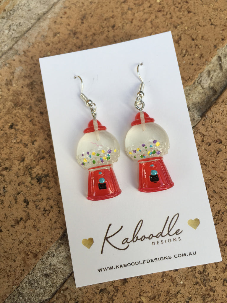 Miniature Novelty Candy Gumball Machine Dangle Earrings