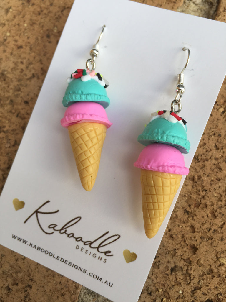 Miniature 3D Yummy Food Ice Cream Dangle Earrings - Strawberry and Mint