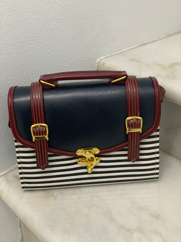 Double Strap School Satchel in Stripes - small