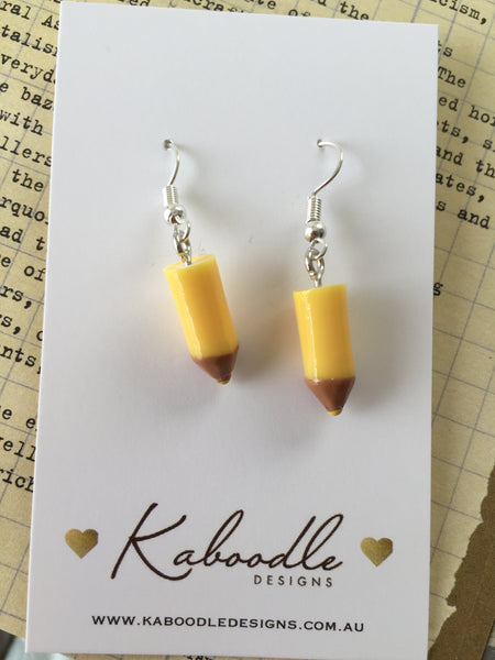 Miniature 3D School Teachers Classroom Pencil Dangle Earrings - Yellow