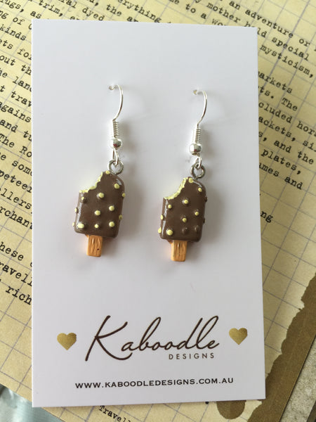 Miniature 3D Yummy Chocolate Ice Cream Dangle Earrings