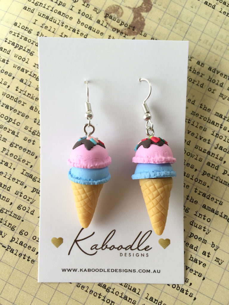 Miniature 3D Yummy Food Ice Cream Dangle Earrings - Strawberry and Blueberry