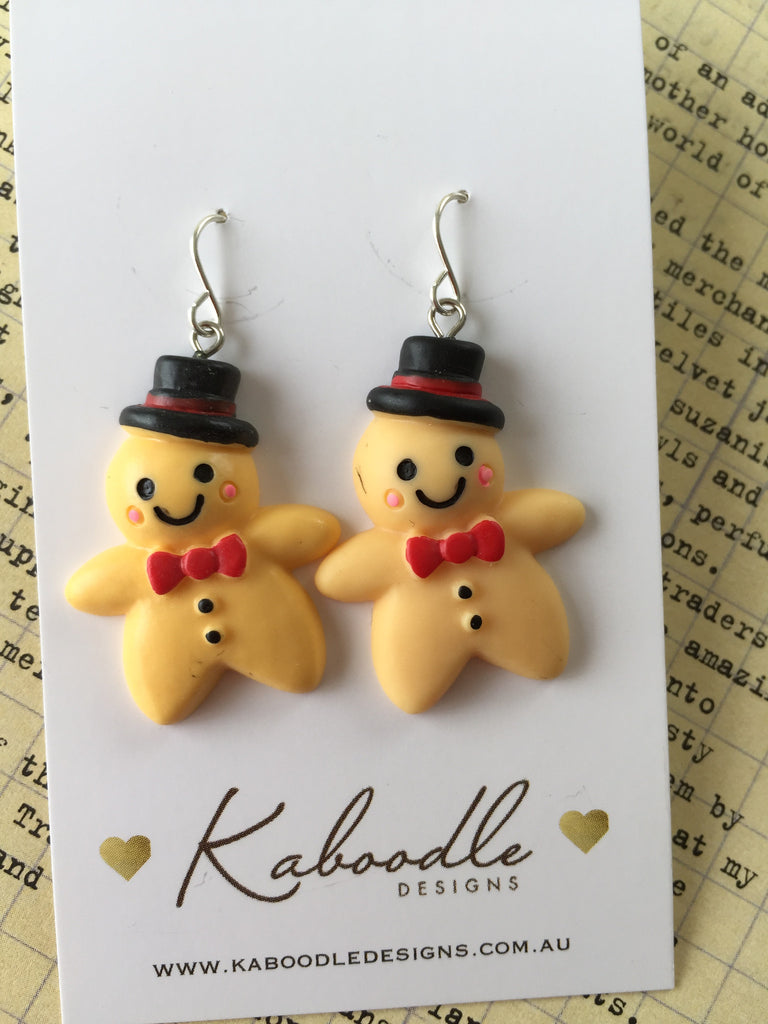 Miniature Gingerbread Man Dangle Earrings