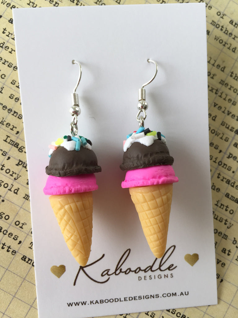 Miniature 3D Yummy Food Ice Cream Dangle Earrings - Strawberry and Chocolate
